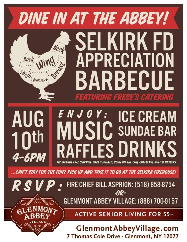 Abbey Glenmont Village/Selkirk FD Appreciation Chicken BBQ – August 10th