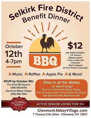 Glenmont Abbey Village/Selkirk FD Appreciation Chicken BBQ – October 12th